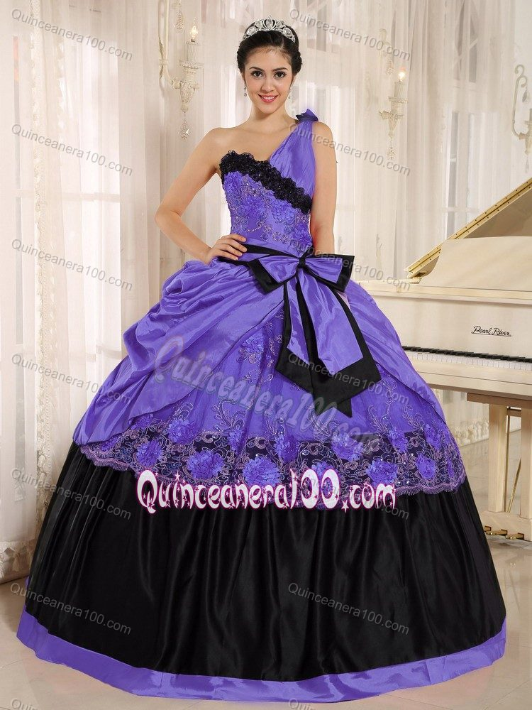 2fb7f2e7fa5 One Shoulder Purple and Black Quinceanera Dresses with Bow ...