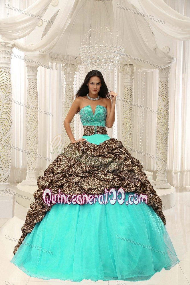 Mint Colored Quince Dresses with Leopard Waist and Pick-ups ...