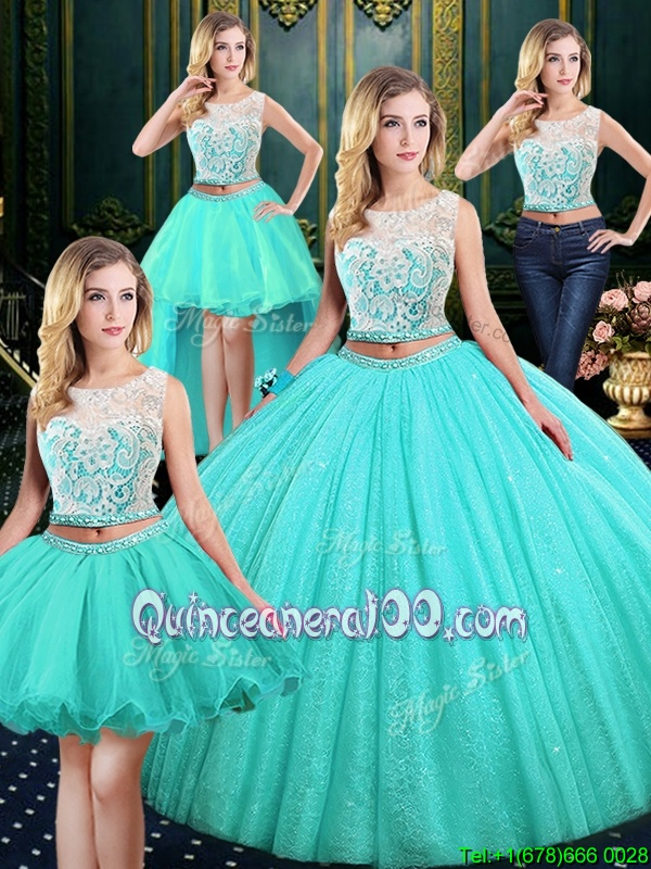 Popular Four Piece Blue Lace Up Scoop Lace and Sequins Sweet 16 Dresses Tulle and Sequined Sleeveless