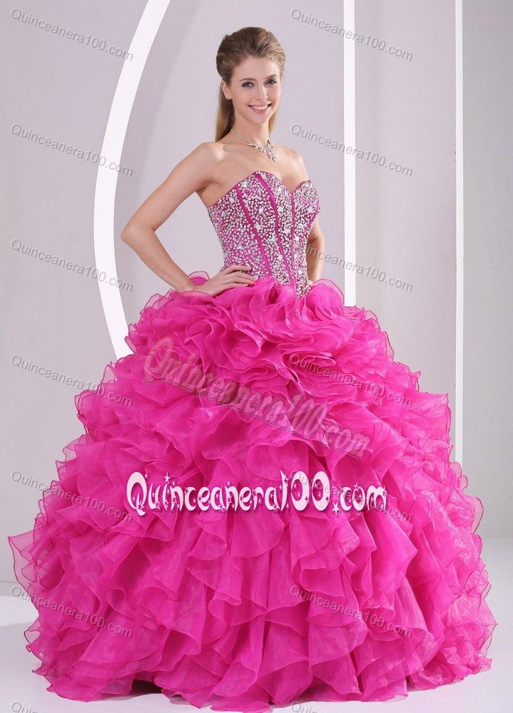 Hot Pink Beads Decorate Quinceanera Dresses with Ruffles