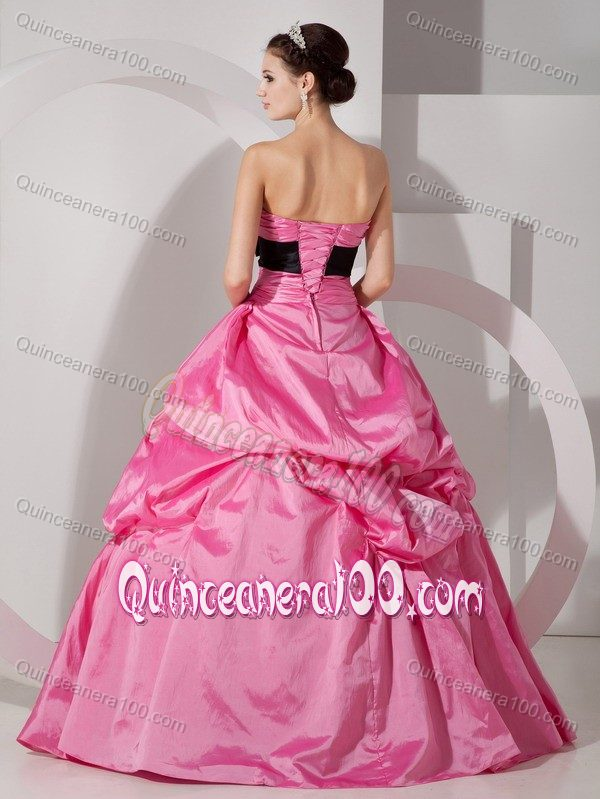 Hot Pink Lace Up Sweet 15 Dress with Black Bowknot and Pick-ups ...