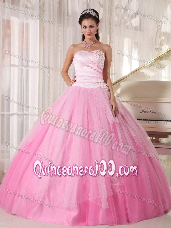 Lovely Pink Tulle Quinceanera Dresses with Beads Decorate