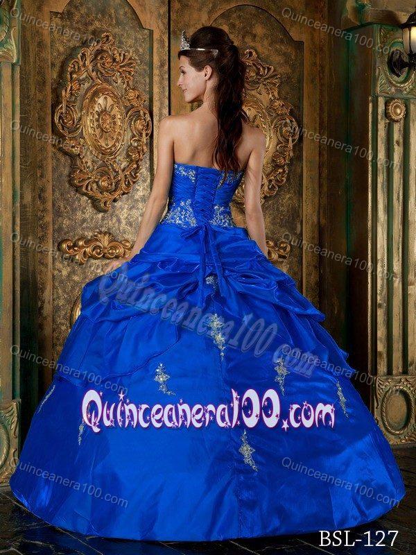 b8cc4e0b0ba Royal Blue Sweetheart Appliques Taffeta Sweet 15 Dress Wholesale ...