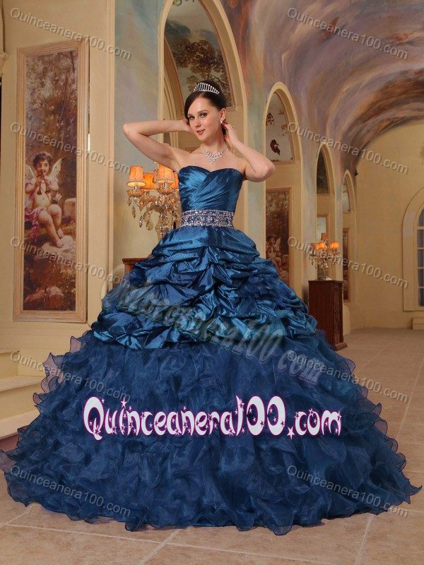 Navy Blue Sweetheart Sweet 16 Dresses with Pick-ups and Ruffles ...