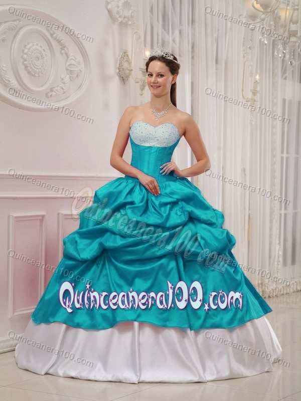 Beaded Sweetheart Dresses for a Quince Pick-ups in Teal and White ...