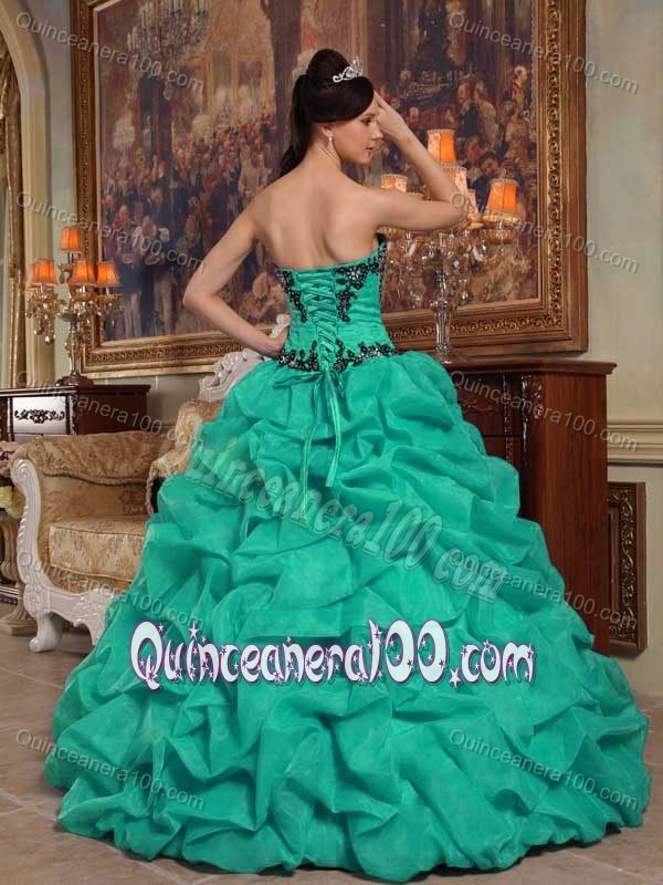 Graceful Appliques Dress for Quince with Pick-ups in Aquamarine ...