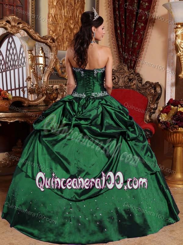 Taffeta Dark Green Pick-ups Beaded Sweet 16 Dress with Appliques ...