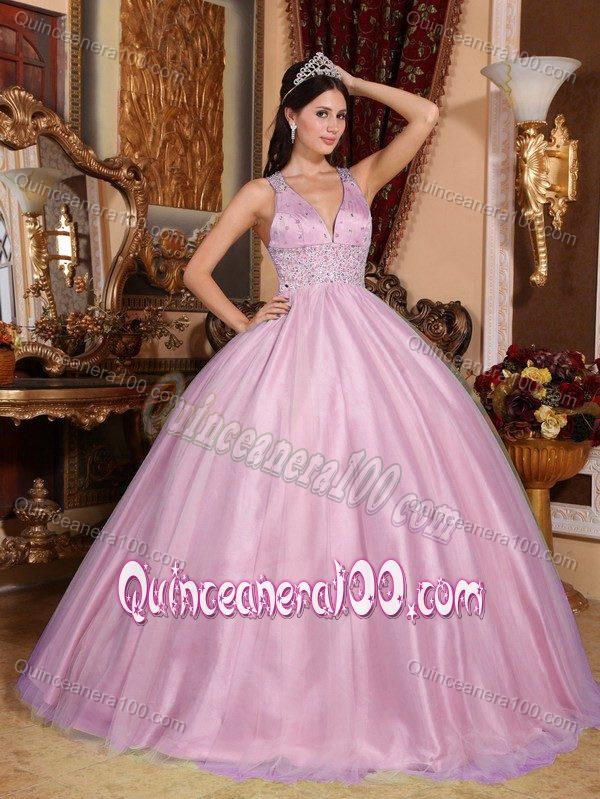 Discount V-neck Floor-length Beaded Pink Dress for Sweet 15 ...