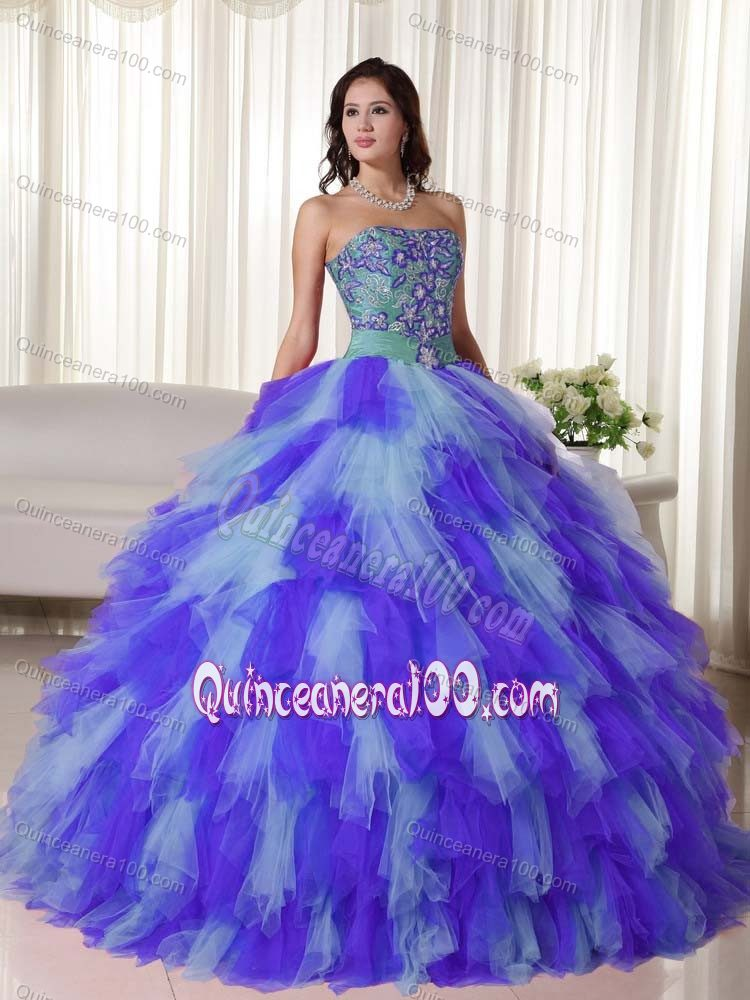 Fast Shipping Appliqued Multi-color Quinceanera Party Dresses for ...