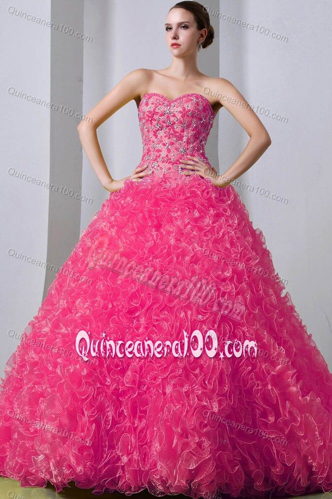 Brush Train Beaded Ruffled Hot Pink Quinceanera Party Dress ...