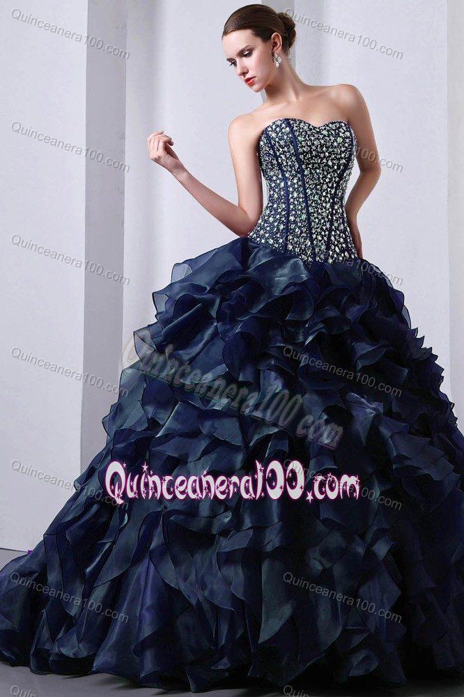 2012 Popular Rhinestones Ruffled Navy Blue Sweet 16 Dress ...
