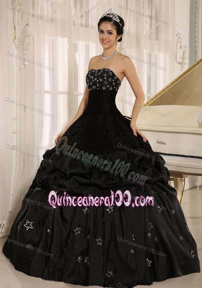Phone Number To Ups >> Strapless Pick Ups Appliqued Ball Gown Black Sweet 16 ...