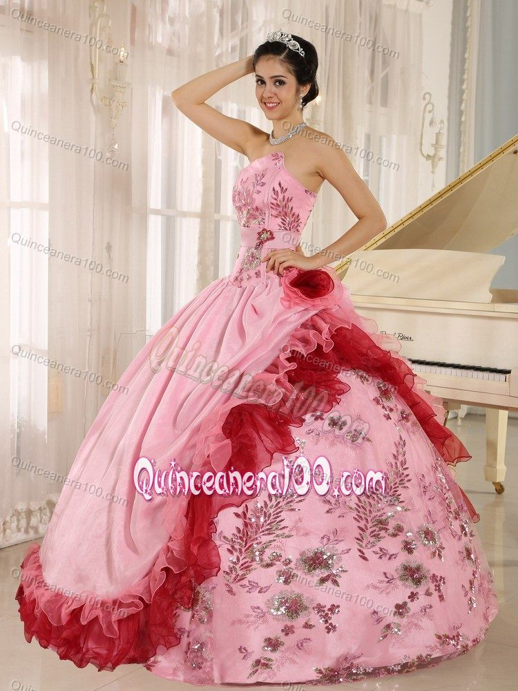 50 Floor Reviews >> 2013 New Style Strapless Appliqued Pink Quinceanera Party ...