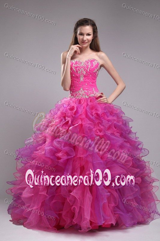Snazzy Appliqued Ruffled Hot Pink Dress for Sweet 16 on Sale ...