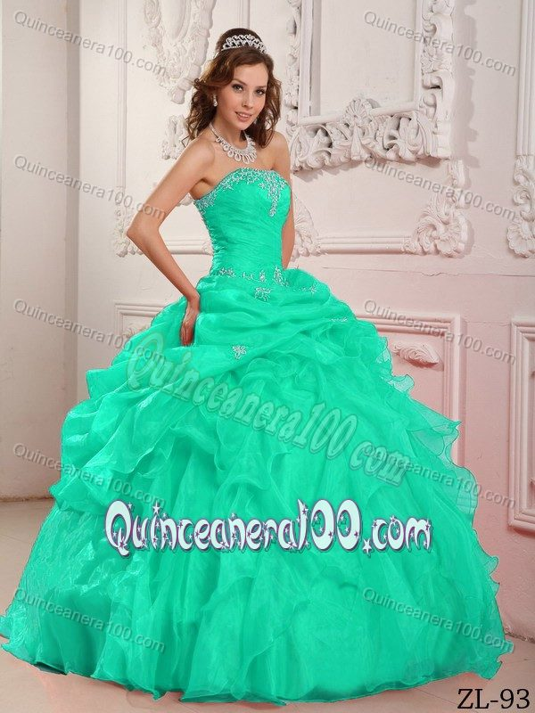 Plus Size Strapless Apple Green Sweet 16 Dresses with Pick Ups ...