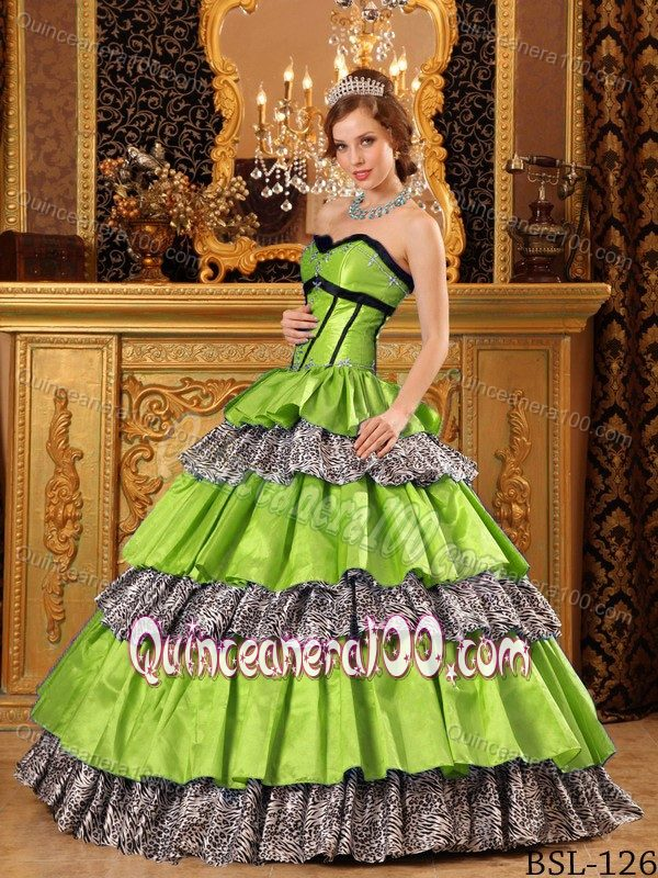 Lime Green And Zebra Quinceanera Dresses - Missy Dress