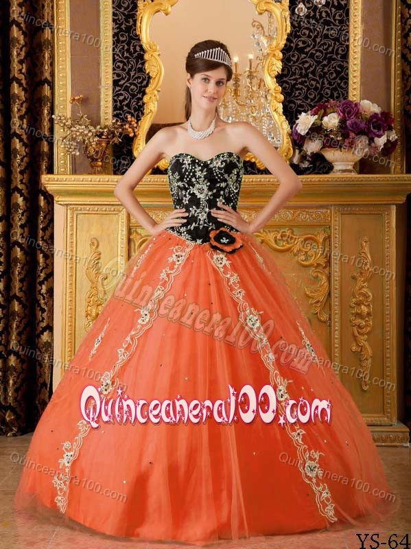 Appliqued Black and Orange Tulle Quinceanera Dress of Sweetheart ...