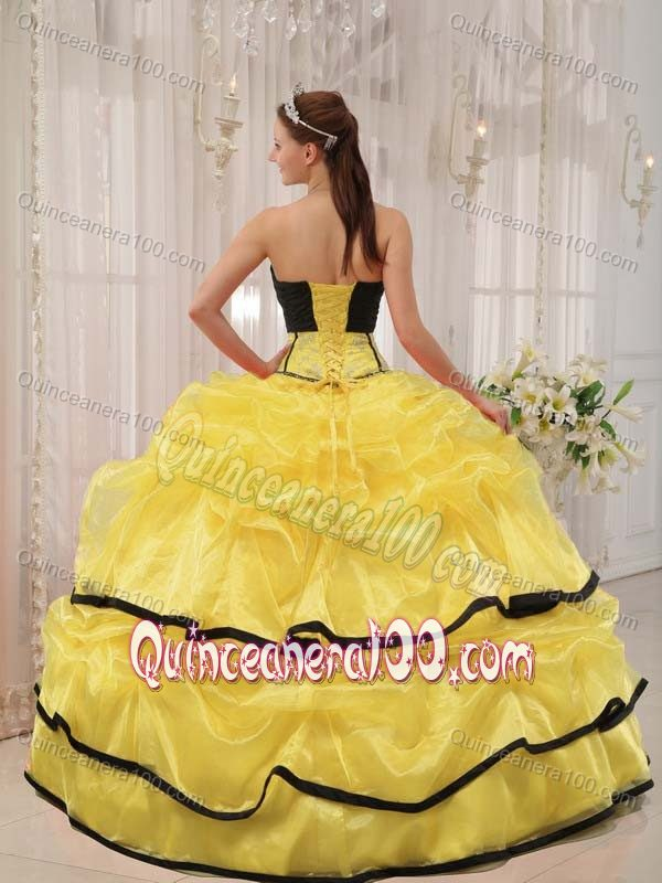 Yellow and Black Sweet Sixteen Quinceanera Dresses with Pick ups ...