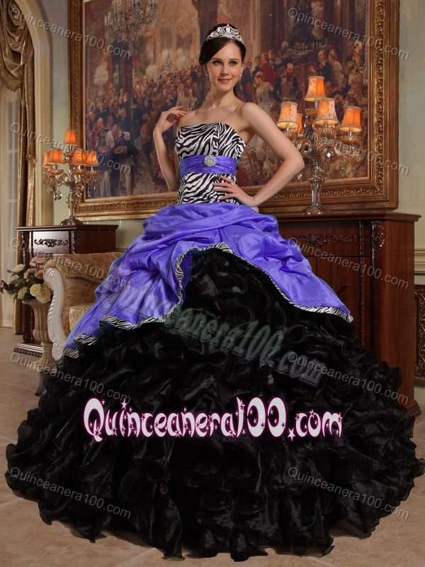 Ruffled Zebra Print Sweet Sixteen Dresses in Lavender and Black ...