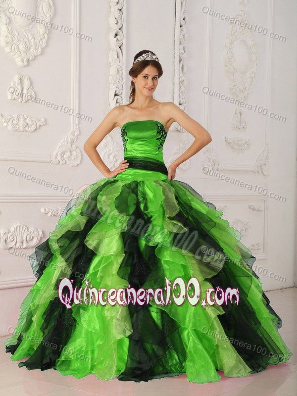 Spring Green And Black Quinceanera Gowns With Appliques Ruffles