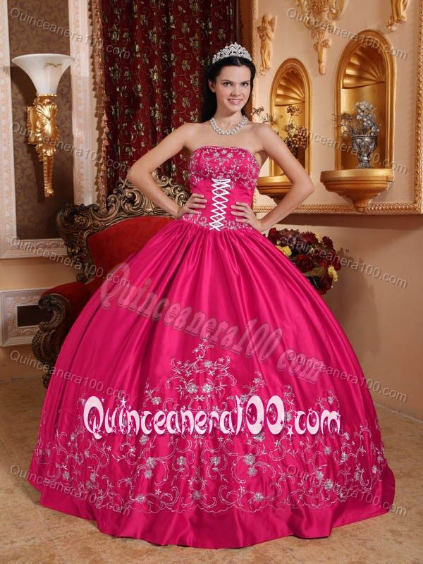 Embroidery and Lace-up Accent Quinces Dresses in Hot Pink 2013 ...