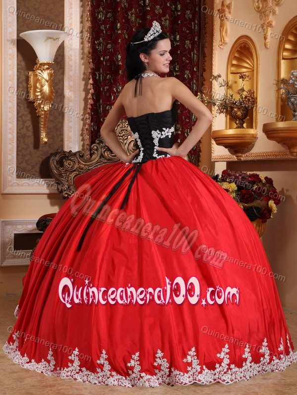 V-neck Red and Black Sweet 16 Dress with Appliques and Ruffles ...