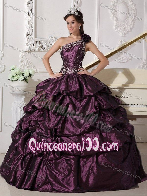 Taffeta One Shoulder Dark Purple Sweet 16 Dress with Pick-ups ...