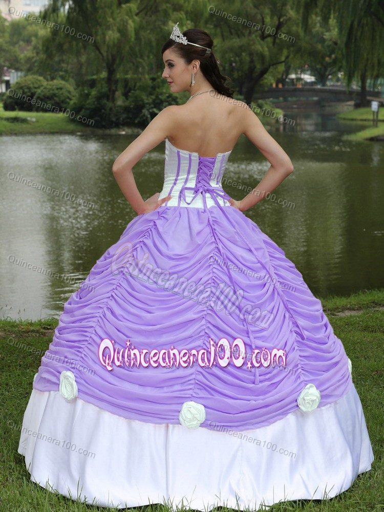 light purple and white ruffled quince dresses with hand