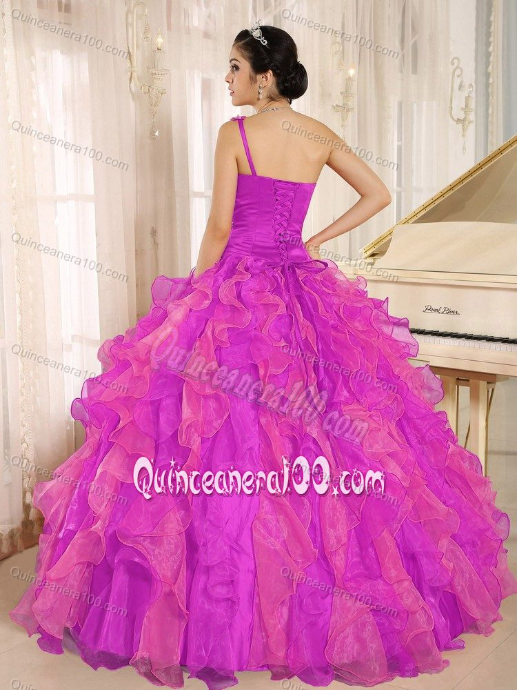 Beaded Bodice One Shoulder Ruffles Quinces Dresses in Hot Pink ...