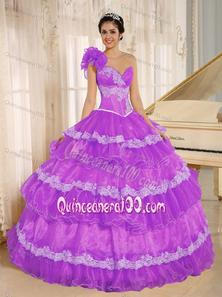 New Violet Sweetheart Quinceanera Gown Dress with Ruffled Layers ...
