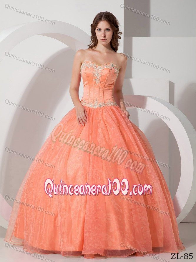 Beautiful Appliqued with Beaded Quinceanera Dress in Light Orange ...
