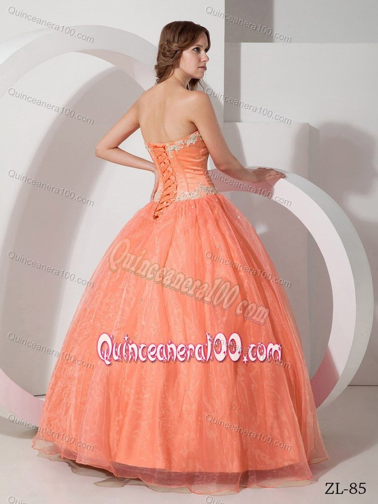 beautiful appliqued with beaded quinceanera dress in light