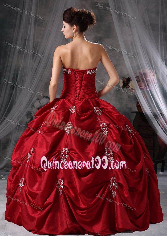 Maroon Gorgeous Taffeta Appliques Quinceanera Dress for Military Balls ...