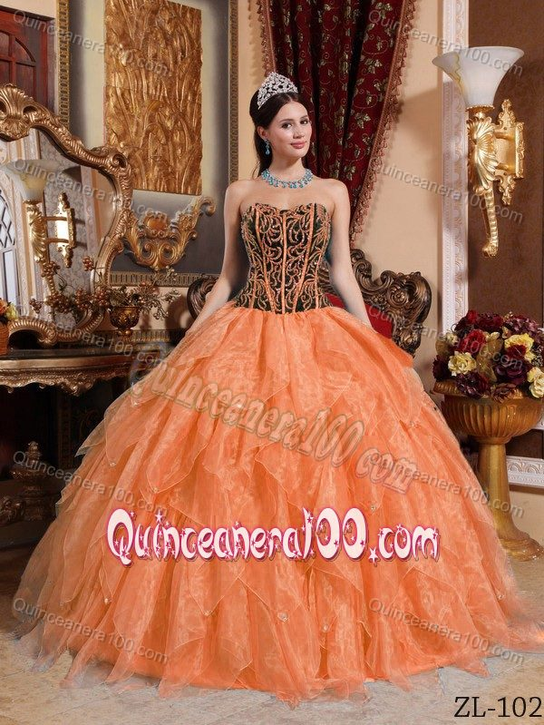 Embroidered Organza Dresses for A Quinceanera in Black and Orange ...