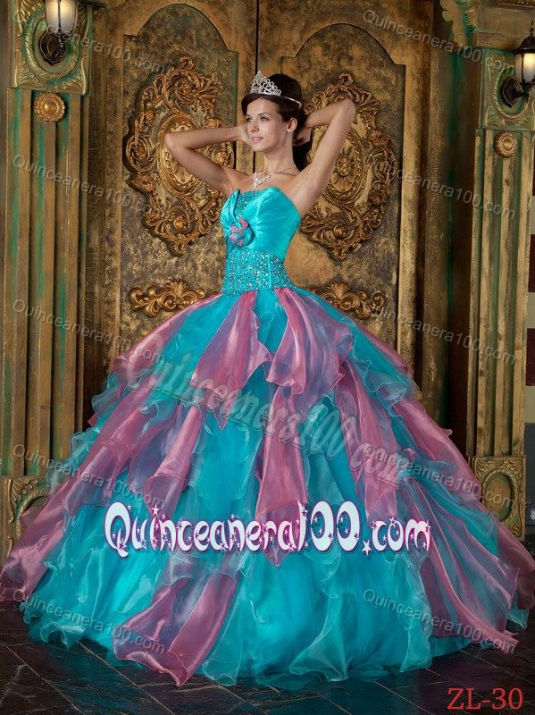 Ruffled Teal and Rose Pink Quinceanera Dresses with Beading 2014 ...