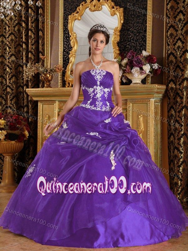 Eggplant Purple with White Appliques Ruching and Ruffles Sweet 16 ...