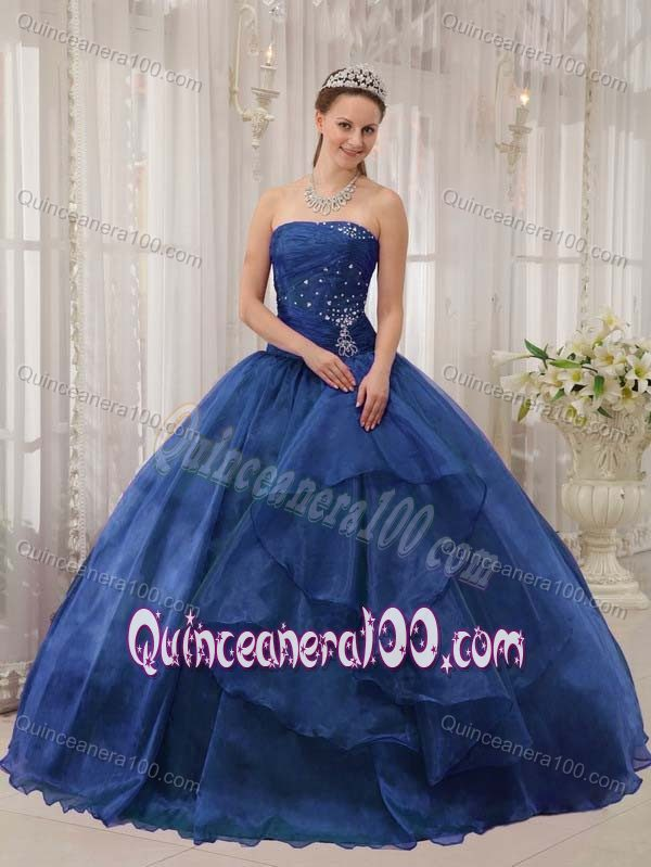 Popular Ball Gown Strapless Beaded Navy Blue Sweet 16 Dress ...
