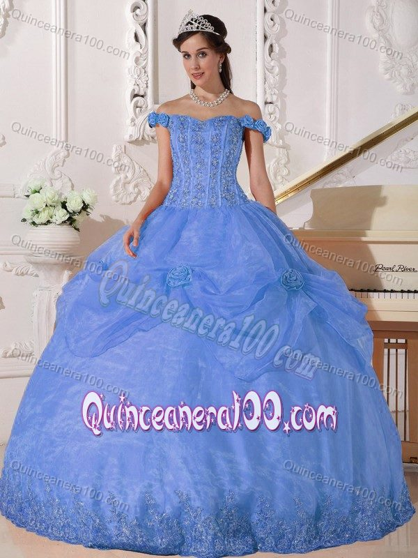 Off The Shoulder Appliqued Sky Blue Sweet 16 Dress Discount ...