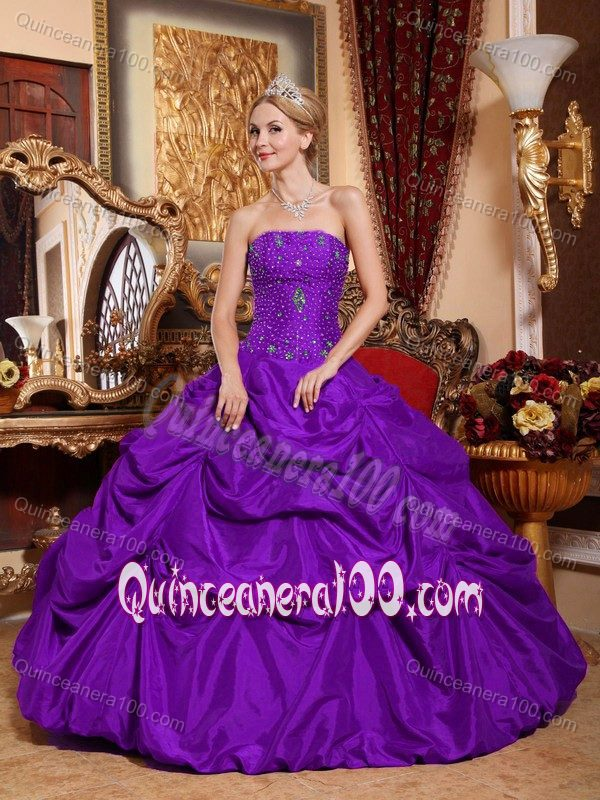 2014 Strapless Beaded Purple Quinceanera Dress with Pick Ups ...