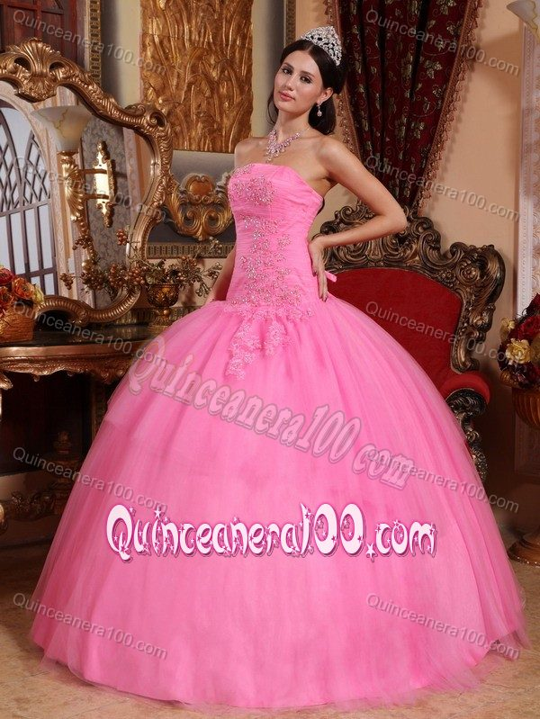 Rose Pink Dropped Waist Dress For Quinceaneras with Puffy Skirt ...