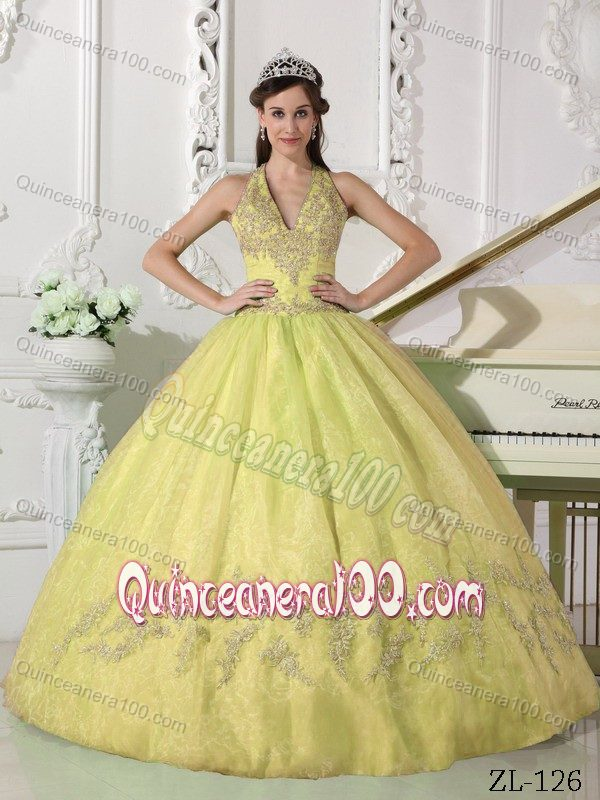 Haltered V-neck Yellow Puffy Ball Gown Sweet Sixteen Dresses ...
