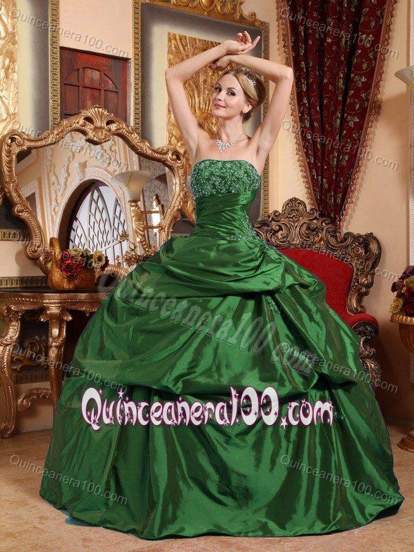 Emerald Green Strapless Ball Gown Taffeta Quinceanera Dresses ...