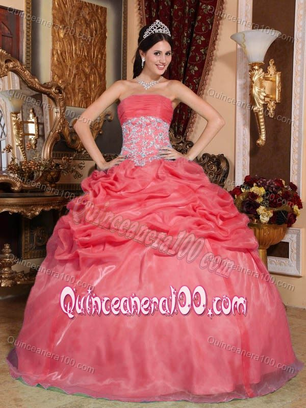 Coral Organza Quinceanera Dress with Beaded Appliques on Waist ...