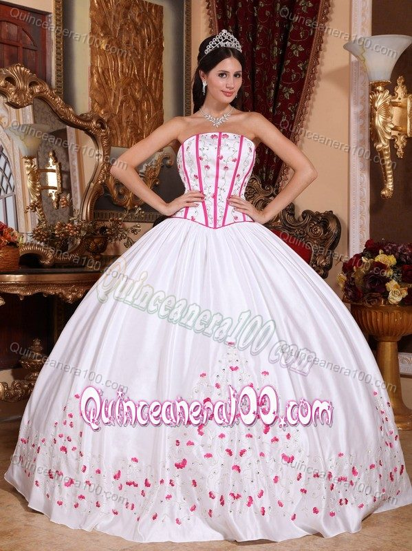 White Taffeta Quinceanera Dress with Beading and Pink Embroidery ...