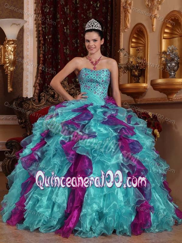 Sweetheart Teal and Purple Quinceanera Dress with Beading and ...