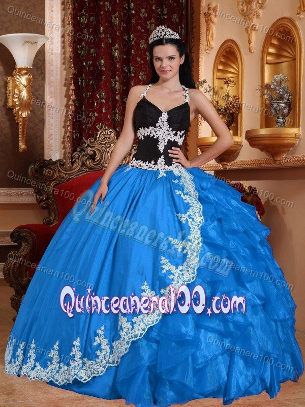 V-neck Baby Blue and Black Quinceanera Dress with Appliques and ...