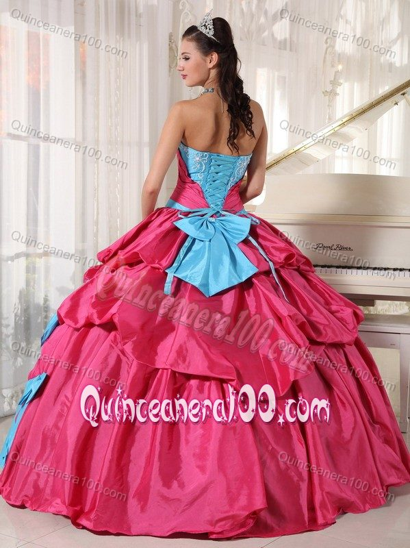 Bowknots Blue and Pink Quinceanera Dress Embroidery Pickups ...