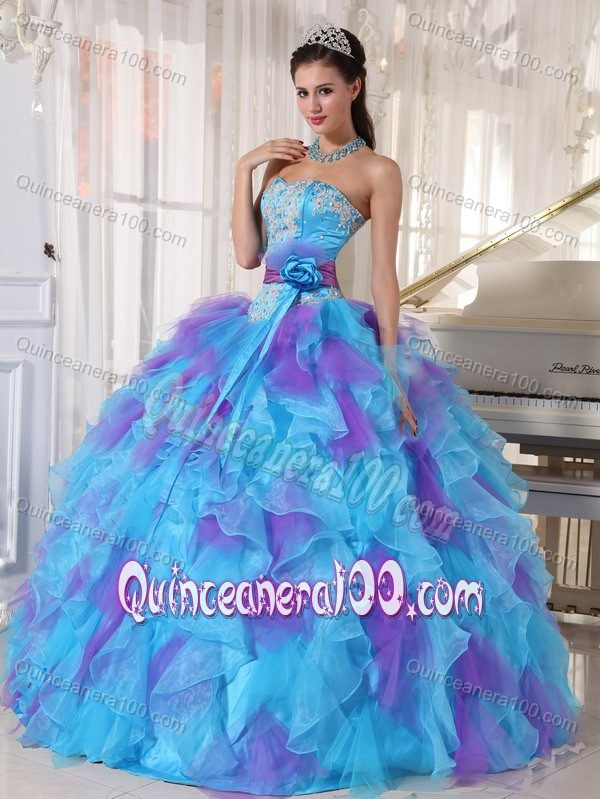 2126e392a7f Blue and Purple Quinceanera Dress Appliques Strapless Full Skirt ...