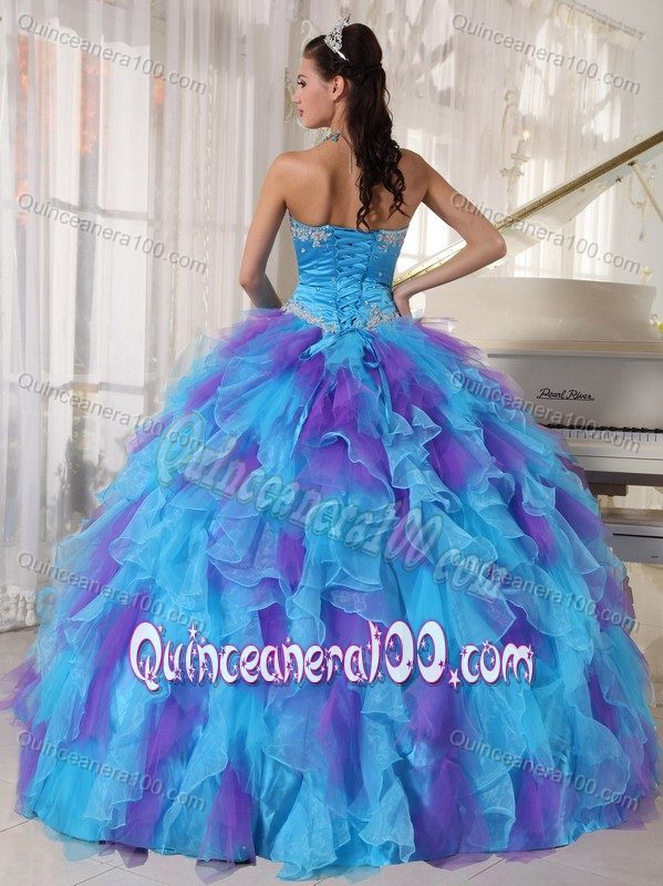 Blue and Purple Quinceanera Dress Appliques Strapless Full Skirt ...