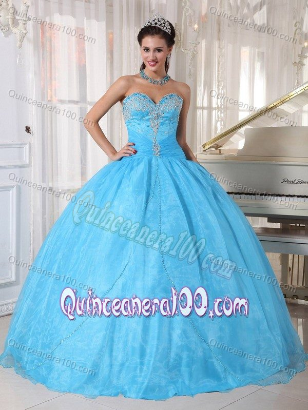 Sweetheart Appliques Quinceanera Dress Baby Blue for 2014 Spring ...